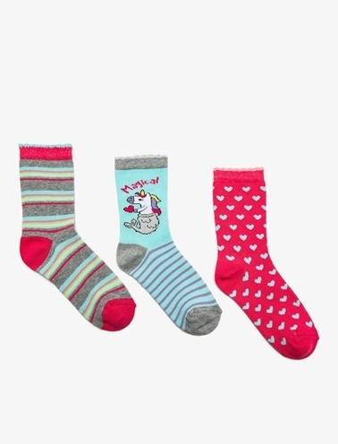 Koton Kids 3'lü Kiz Çocuk Çorap Mavi